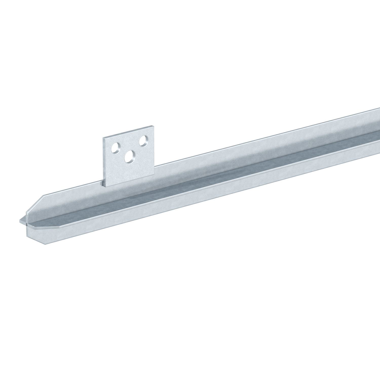 Profile earthing rod with connection strap